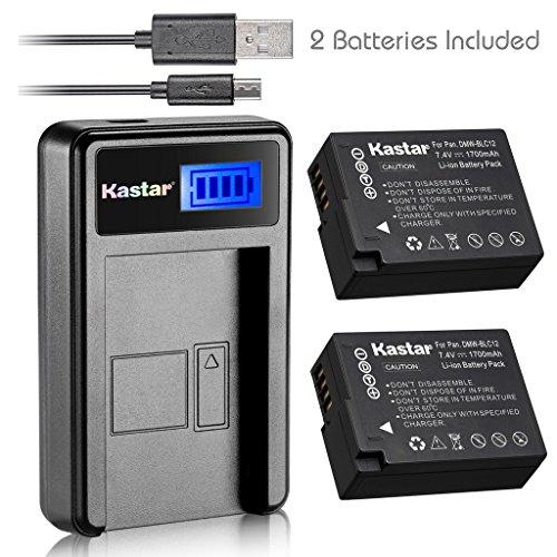 Kastar Battery (X2) & LCD Slim USB Charger for Panasonic DMW-BLC12, DMW-BLC12E, DMW-BLC12PP and Panasonic Lumix DMC-FZ200, DMC-FZ1000, DMC-G5, DMC-G6, DMC-GH2 Digital Cameras by Kastar