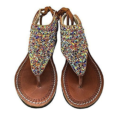 b6a8dfc3dd048 Amazon.com  Sandy Reef Bead Gladiator Summer Colorful Bright Comfy Flat  Sandals  Handmade