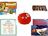 Children's Gift Bundle - Ages 3-5 [5 Piece] - Shrek Forever After Memory Game - Emergency 911 Fire Police Wooden Peg Puzzle Toy - Plush Appeal Red Fuzzy Happy Face Plush 7