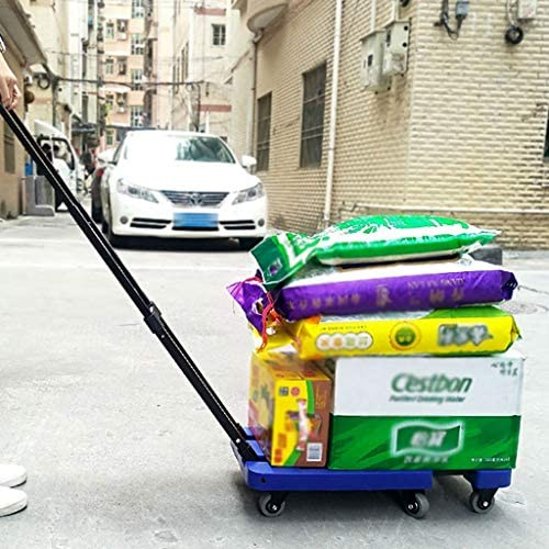 Color : Black, Size : 67cm ECHOV Trolley Bags Grocery Cart,Foldable Household Trolley,Flat Pull Cart,Portable Collapsible Cart,Pull Baggage,Take Delivery