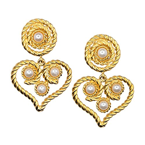 - Kenneth Jay Lane Gold Rope Button Top and Heart Drop Pearl Clip-On Earrings