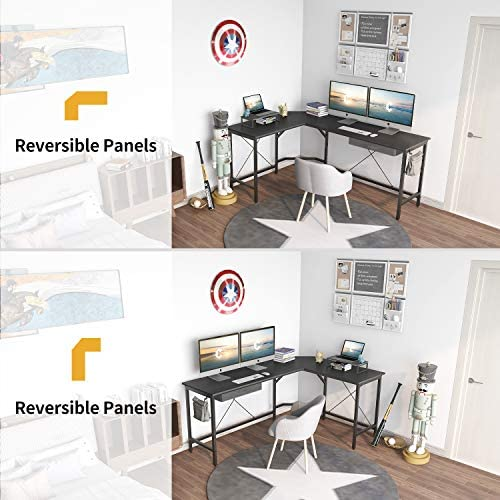 CubiCubi L Shaped Desk Computer Corner Desk, Home Office Gaming Table, Sturdy Writing Workstation with Small Table, Space-Saving, Easy to Assemble