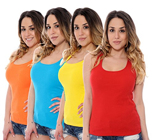 Ribbed Top Tank Lace (Unique Styles 4-Pack Juniors Ribbed Lace Back Tank Tops - Assorted Colors (Large, Turquoise/Yellow/Red/Orange))