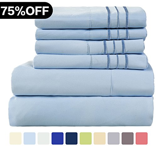 WARM HARBOR Microfiber Sheet Set Super Soft 1800 Thread Count Deep Pocket Bed Sheets Wrinkle, Fade, Stain Resistant Hypoallergenic -6 Piece(Lake Blue, Cal (Apple Bedskirt)