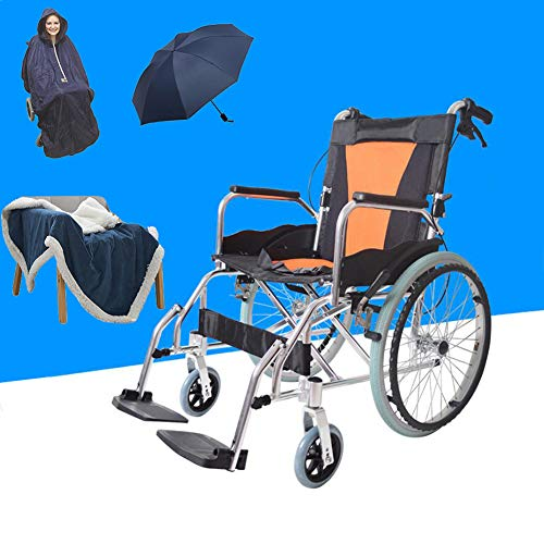WHYIT Folding for Transport Wheelchair Days Heavy Duty Self-Propelled Wheelchair, Folding Back, Compact Detachable Swing Away Footrests & Armrests, Folds for Transport, Easy for Caregiver to - Arms Detachable Away Swing Footrests
