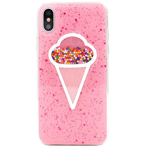 iPhone X Case, MC Fashion(TM) Cute Creative Glitter - Ice Cream Cone - Shape Candy Slim Soft and Protective Pink TPU Case for Apple iPhone X/iPhone 10 (2017 Release)
