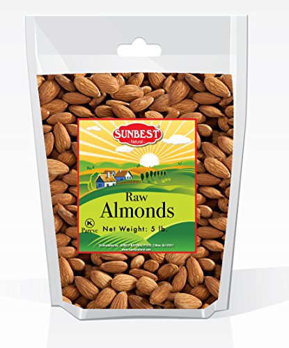 SUNBEST Whole Raw Almonds (Whole, Raw, Shelled, Unsalted) in Resealable Bag (5 (Almonds Shelled)