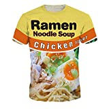 Azuki Ramen Shirt Ramen Noodle Soup Chicken Noodle Flavor Print T-Shirts -Size M