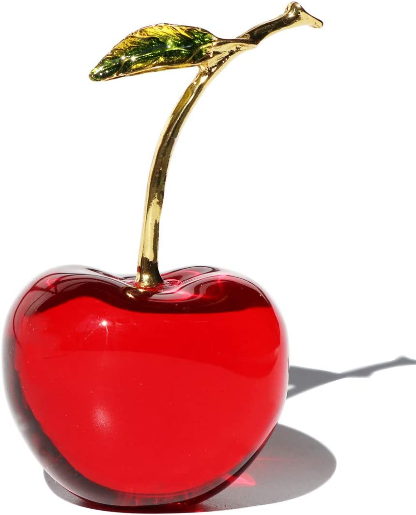 Waltz&F Crystal Glass Cherry Paperweight Fengshui Craft Home Decoration Ornaments Gift Box(red)
