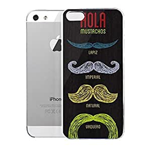 Light weight with strong PC plastic case for Iphone 5/5s Art Illustration Art Hola Mustachos by mcsharks