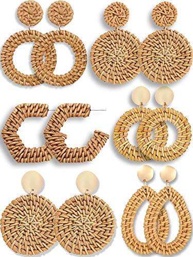 - 6 Pairs Rattan Earrings for Women Lightweight Handmade Geometric Statement Earrings Woven Braided Rattan Straw Wicker Drop Dangle Earrings Stud Earrings