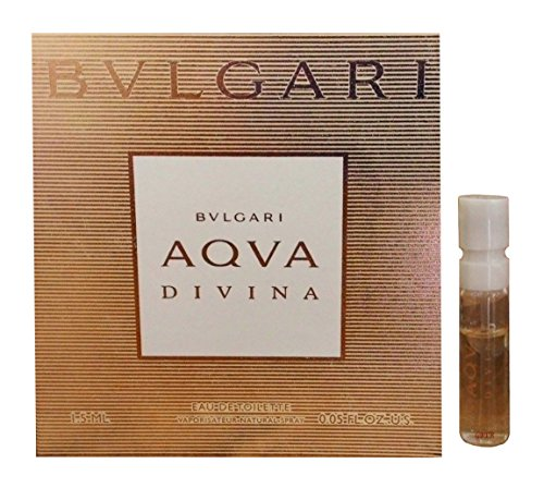 Bvlgari AQVA DIVINA Eau de Toilette Perfume for Women ~ .05 fl. oz. / 1.5 ml Carded Sample Spray (0.05 Ounce Sample Vial)