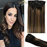 Googoo Clip in Hair extensions Black Ombre to Light Brown #6 Balayage Clip in Remy Hair Extensions Real Human Hair 7 Pieces 120g 18 inch