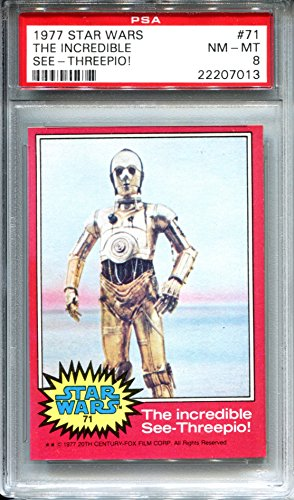 1977 Star Wars Topps Red Series Trading Card #71 The Incredible See-Threepio! C3PO PSA 8 NM-MT