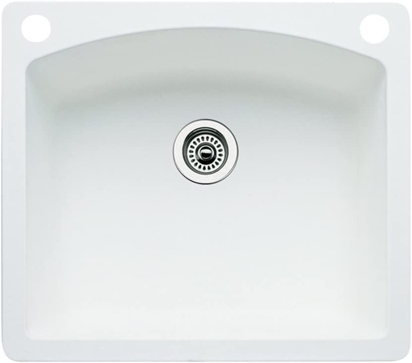 Blanco 440211-2 Diamond 2-Hole Single-Basin Drop-In or Undermount Granite Kitchen Sink, White