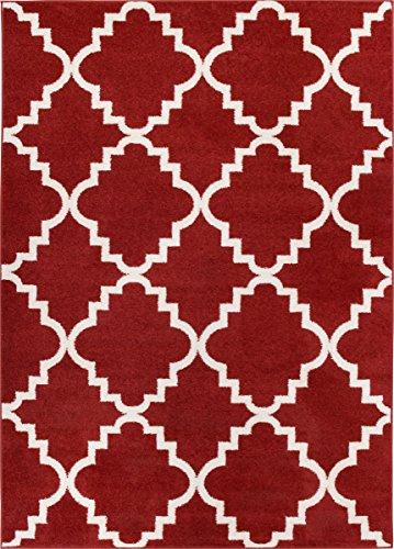 Teracotta Red Rug Trellis Morrocan Modern Geometric Wavy Lines 5x8 (5