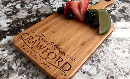 Personalized Engraved Cutting Board with Handle Housewarming and Wedding Gift for Kitchen (5 x 11 Bamboo Paddle Shaped, Crawford Design)