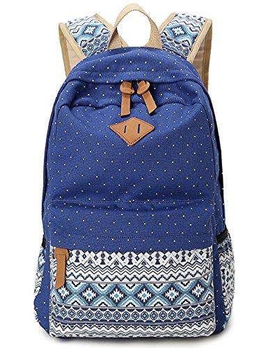 Leapr Geometría Dot Casual Canvas Mochila Bolsa, moda lindo mochilas ligeras para las niñas adolescentes azul oscuro