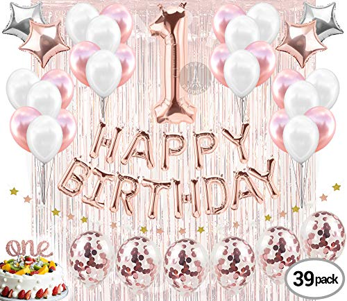 1st Birthday Decorations Firsts Birthday Party Supplies One Cake Topper Rose Gold Banner Rose Gold Confetti Balloons for her Rose Gold Curtain Backdrop Props or Photos Happy Birthday Bday Princess Deco