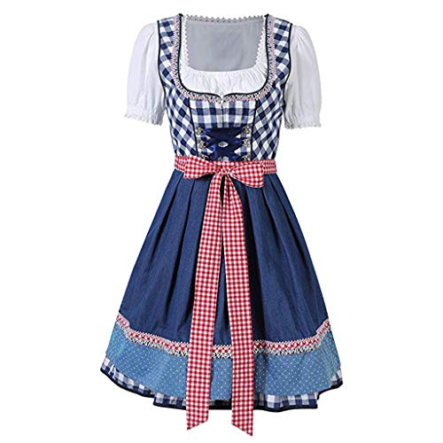 VIccoo 3Pieces/Set Women Barmaid Dirndl Dress Cross Bandage Square Neck Short Sleeve Plaid Bavarian Oktoberfest Costumes Halloween Carnival Party - Blue - Medium ()
