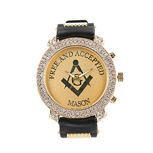 Diamond Black Dial Gold (Gerosse Masonic Classic Men's Luxury Gold Watch, Crystal Diamond Dial Gold Steel Quartz Wrist Watch, Big Deal Hip Hop Watch (gold case black band))