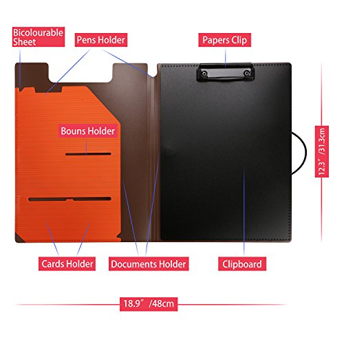 Clipboard Folder File Padfolio Clipboard Storage, Kakbpe Bussiness Letter Size Padfolio with Refillable Notepads, Give a Total of 100 Note Page Markers in Five Colors-Orange, Letter Size Photo #5