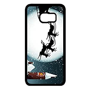 Gift Day Merry Christmas Phone Case Hard Plastic Back Case Cover For Samsung Galaxy S6 Edge Plus,Merry Christmas---Black