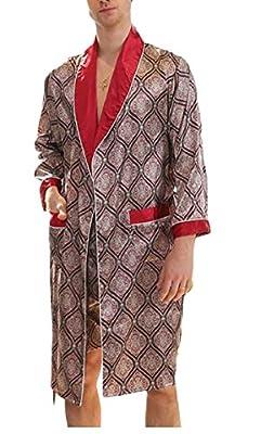 pujingge Men Silk Satin Robe Pajama Shorts Sleepwear Long Sleeve Bathrobe Set