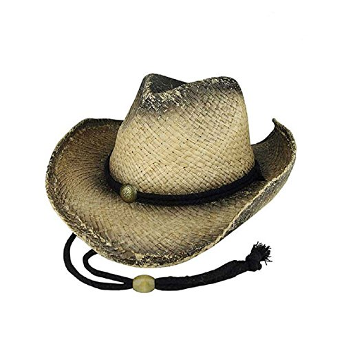 MG Tea Stained Raffia Straw Cowboy Hat - Tan with tint of -