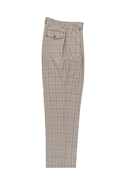1920s Men's Pants, Trousers, Plus Fours, Knickers Tiglio Luxe Tan Brown Windowpane Wide Leg Pure Wool Dress Pants 2576 RS5587/1 $99.00 AT vintagedancer.com