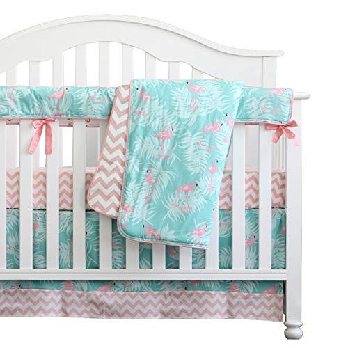 Sahaler 3 Pieces Set Flamingo Pink Chevron Crib Bedding Set Baby Crib Nursery Bedding Set (Flamingo)