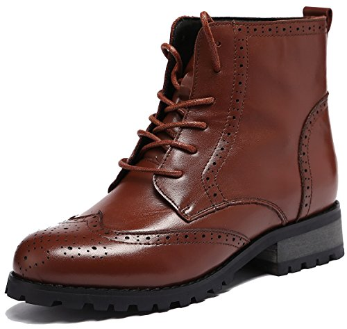U-lite Womens Fashion Leather Motorcycle Shoes, Autumn Winter Martin Combat Ankle Boots Caramel Brown9 (Winter Oxfords)