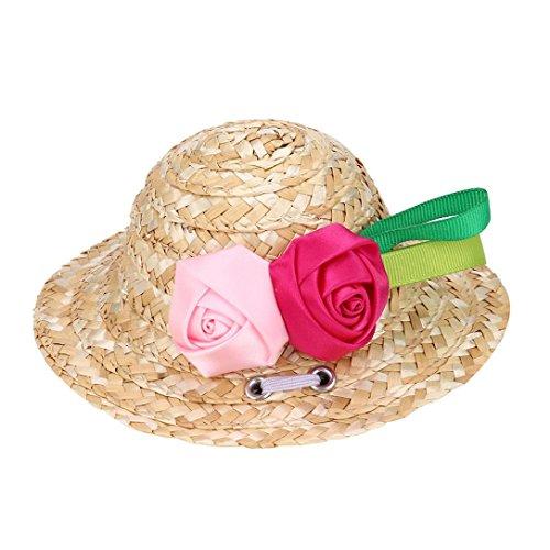 OOEOO Dog Cat Hat Straw Sombrero Pet Adjustable Buckle Cap Costume for Small Puppy (Pink Rose, S)