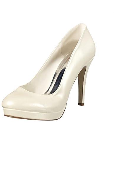 32cc2c10b0718a Chaussure Femme à Talon compensé Type Escarpin pour Mariage - Écru - P-36