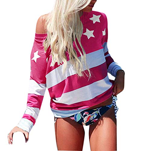 〓COOlCCI〓USA Flag Off The Shoulder Top Shirt Women Casual Distressed American Flag Blouse Tees Tops Pullover Sweatshirt Red