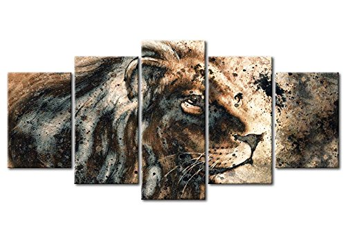 """artgeist Canvas Wall Art Print Africa 100x50 cm / 39.37""""x19.68"""" 5pcs Home Decor Framed Stretched Picture Photo Painting Artwork Image g-B-0026-b-n"""