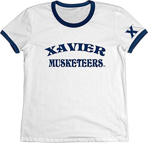 NCAA Xavier Musketeers Adult Women NCAA Womens Vintage Supima Ringer Tee,x Large,Navy