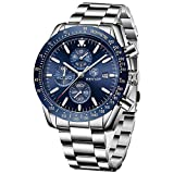 Benyar Mens Stainless Steel Chronograph Analog Watch Luxury Business Dress Stainless Steel Strap Watch Perfect for Birthday Gift