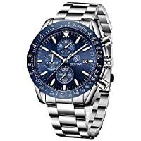 BENYAR – Stylish Wrist Watch for Men, Stainless Steel Strap Watches, Perfect Quartz Movement, Waterproof and Scratch Resistant, Analog Chronograph Business Watches