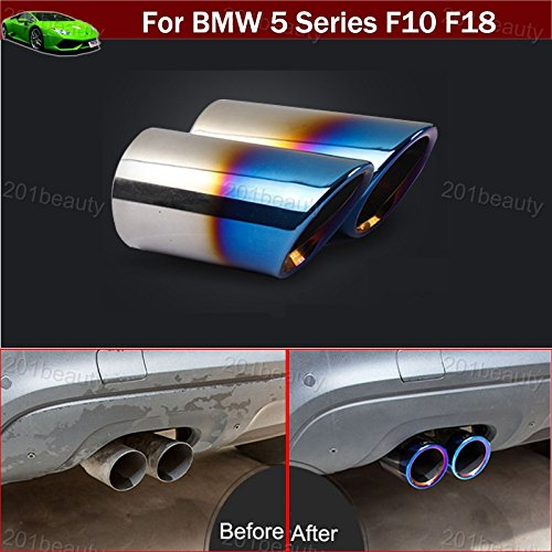 - 2pcs Blue Color Stainless Steel Exhaust Muffler Rear Tail Pipe Tip Tailpipe Extension Pipes Custom Fit for BMW 5 Series F10 F18 2009 2010 2011 2012 2013 2014 2015 2016 2017 2018 2019 2020
