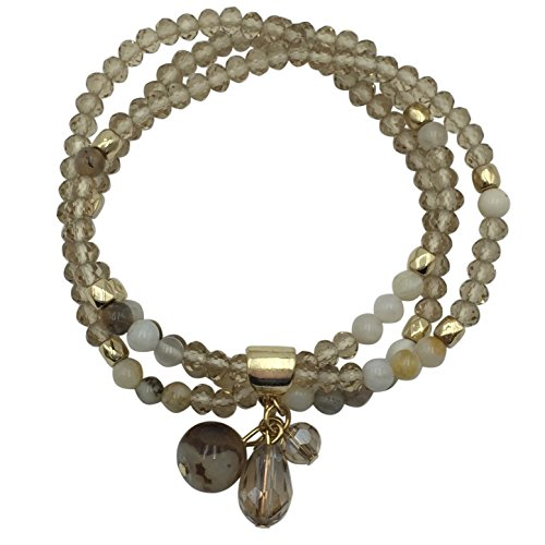 3 Row Glass & Natural Stone Beaded Gold Tone Stretch Bracelet (Brown Tones)