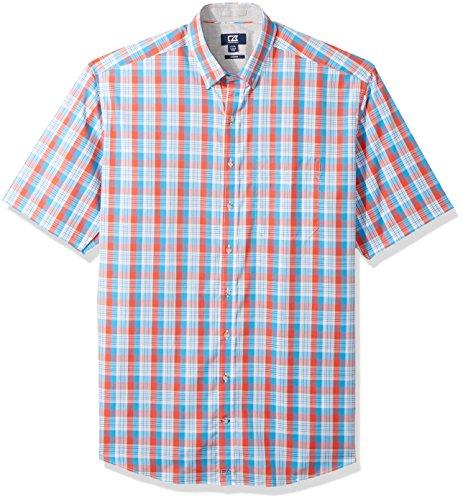 (Cutter & Buck Men's Large Plaid Easy Care Button Down Short Sleeve Shirts, Tangelo Martin, 2X Big)