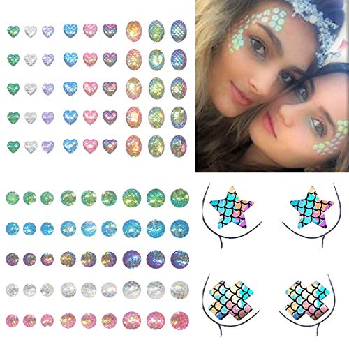COKOHAPPY 90 Pieces Mermaid Multicolor Rhinestone Sticker DIY Crystal Gem with 2 Pairs Self-Adhesive Nipple Covers Disposable Lingerie Breast Pasties Petals