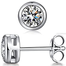 Han han 925 Sterling Silver Bezel-Set Stud Earrings - 1 ct,2 ct