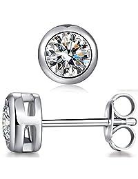Han han 925 Sterling Silver Bezel-Set Stud Earrings - 1 ct,2 ct