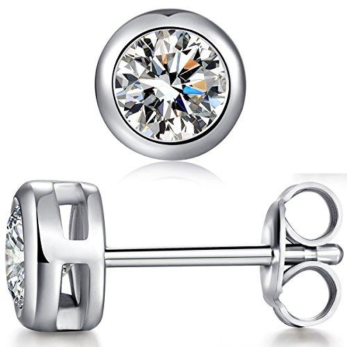 Diamond Bezel Ladies 2ct - Silver Stud Earrings 925 Sterling Silver Round Cut Cubic Zirconia Stud Earrings,Simple Casual Bezel-Set Stud Earrings,Women Fashion Round Stud Earrings,CZ Diamond Stud Earrings 2 Carat