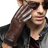 Men's Genuine Leather Gloves For Men With Stitching Cuffs Winter Warm Brown XL