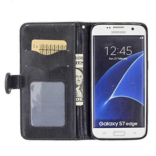 Galaxy S7 Edge Case, BONROY Premium Soft PU Leather Crystal Bling Wallet Case Pretty Girl Pattern Design Back Case Cover with [Kickstand] Stand Function Card Holder and ID Slot Slim Flip Protective Sk black