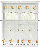 Ideas for Kitchen Window Curtains Window Elements Embroidered 3-Piece Kitchen Tier and Valance 60 x 54 Set, Oranges