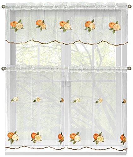 Window Elements Embroidered 3-Piece Kitchen Tier and Valance 60 x 54 Set, Oranges